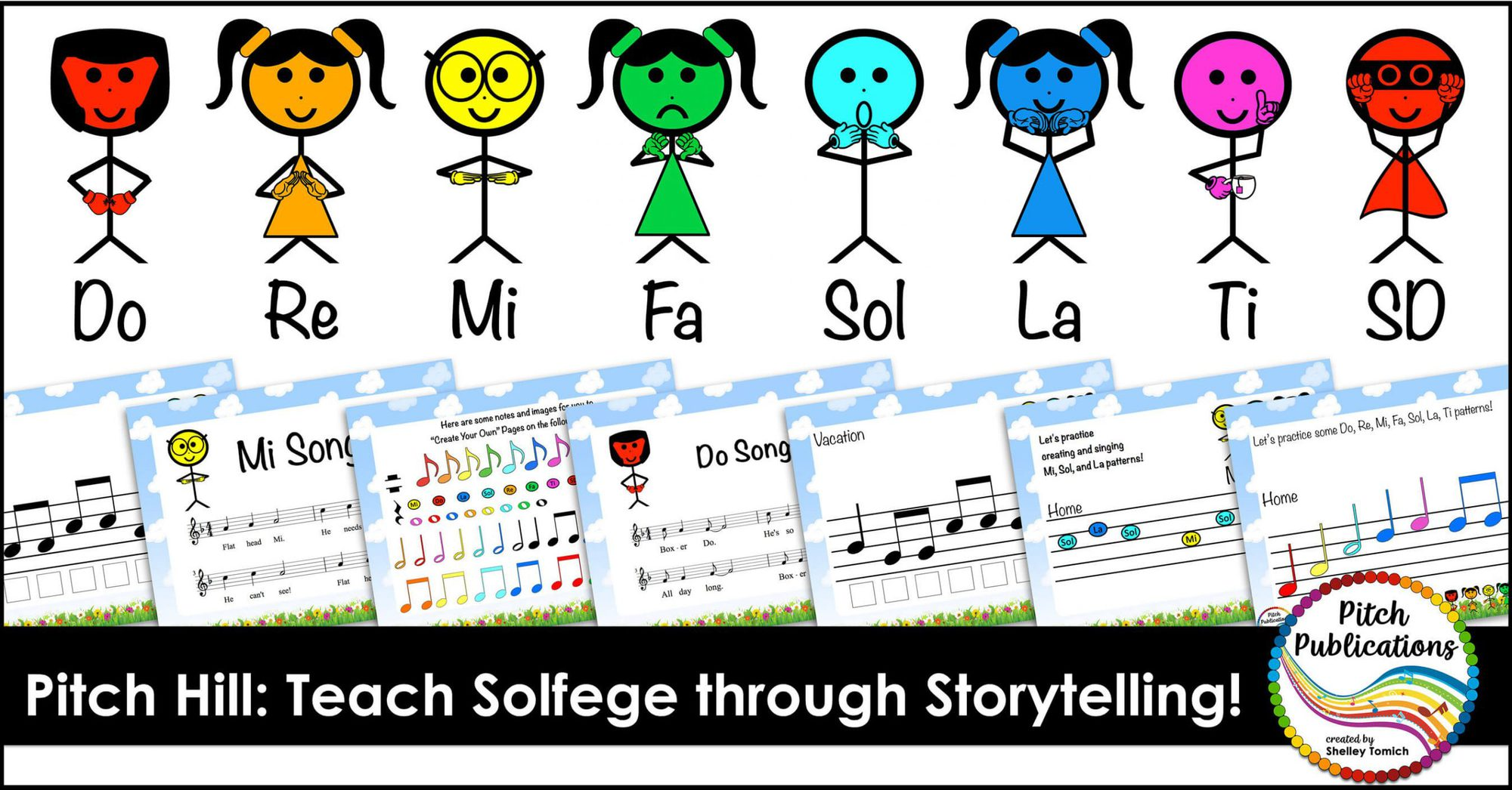 "Picture of colorful stick figures with the text ""Pitch Hill: Teach Solfege Through Storytelling!"""