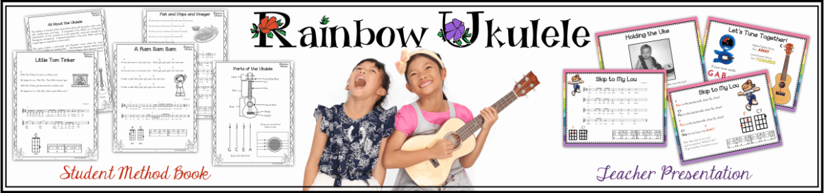 """advertising for Rainbow Ukulele with text """"Student Method Books"""" and """"Teacher Presentation"""""""
