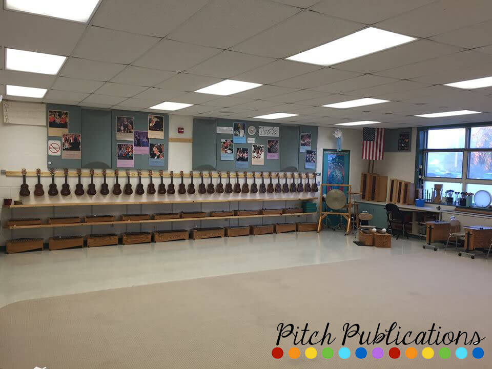 Music Classroom Design Ideas ~ Ukulele storage in the music classroom on wall