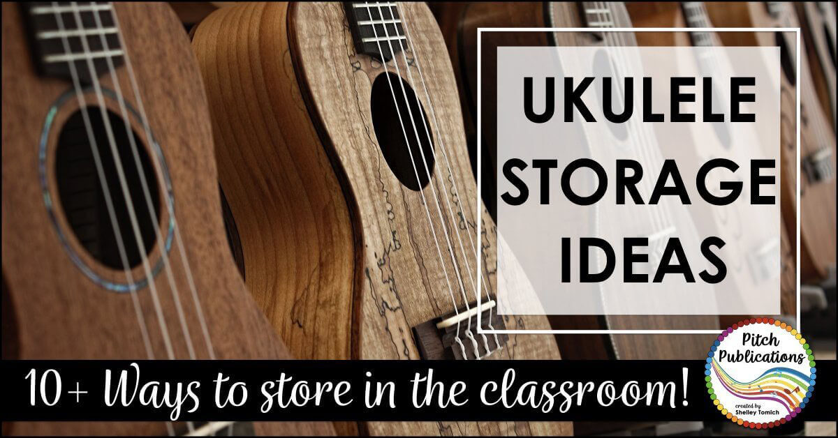 """This is a great post on storing ukuleles in the music classroom. There are so many great ideas and pictures for ukulele storage! #pitchpublications #elmused #tptmusiccrew"""" data-pin-media="""