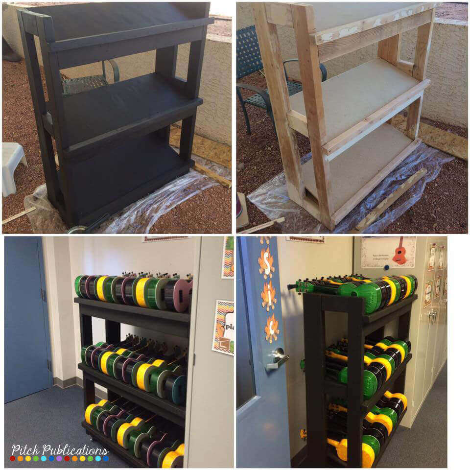 This is a great post on storing ukuleles in the music classroom. There are so many great ideas and pictures for ukulele storage! #pitchpublications #elmused #tptmusiccrew