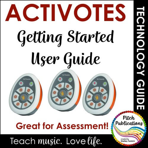 Picture of activotes (remotes for the classroom) with text: Activotes: Getting Started User Guide