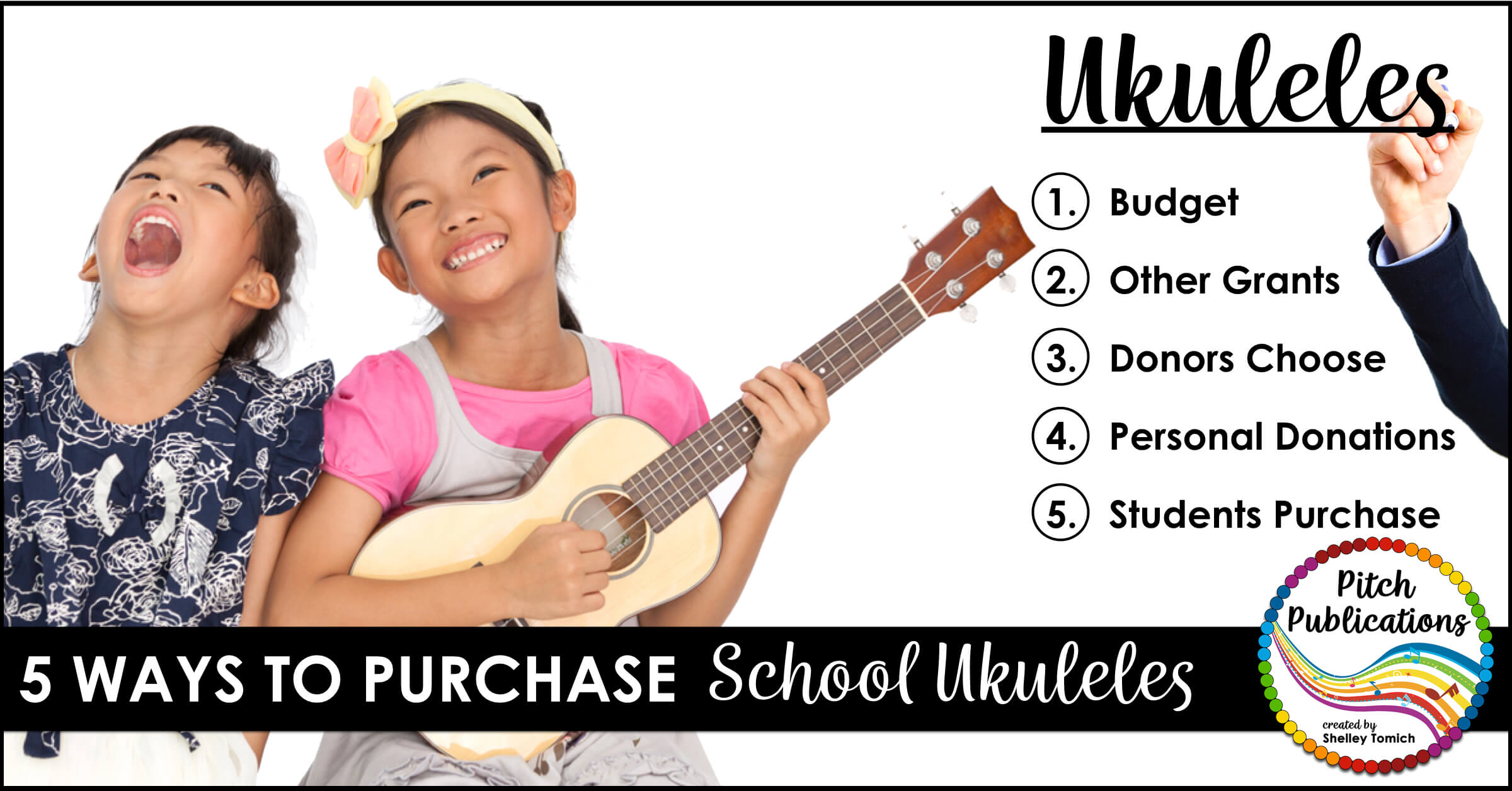 This is a great post on how to get ukuleles for your elementary music program! She explains 5 ways to get your ukulele program going with or without a budget! Go purchase your ukuleles now! #rainbowukulele