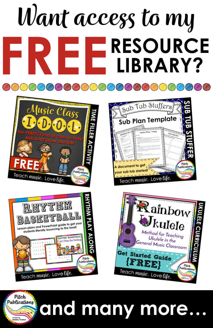 This is the FREE resource library for Pitch Publications - the home of amazing elementary music education materials and ideas! Be sure to sign up! #elmused