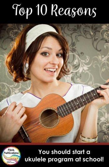 These are ten reasons to start an ukulele program at school! This will tell you why to teach ukulele - use in grants and to convince administration! #musedchat #musicteacherlife #musicteacher #musictpt #iteachmusic #musiceducation #musicclassroom #elmused #musicteacher #elementarymusic #musiced #iamamusicteacher #generalmusic #orffposse #kodaly #teacherlife #elementarymusicteacher #musicteacherproblems #tptmusic #tptmusiccrew #pitchpublications