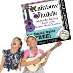 This is a pinterest image for the free get started guide for Rainbow Ukulele. It has a picture of two happy kids playing ukulele.