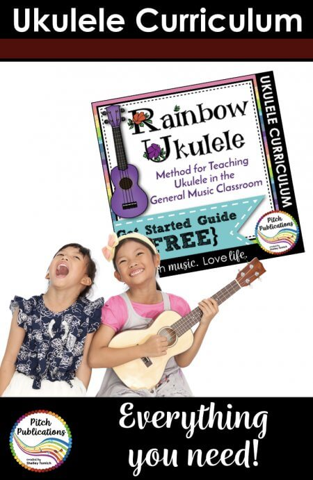 Rainbow Ukulele is a fun, sequential ukulele curriculum designed for elementary music teachers.  Want to teach ukulele but feeling overwhelmed? No worries! Rainbow Ukulele has everything you need to teach ukulele in the music classroom!