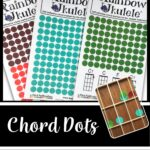 """A picture of three sheets of dot stickers in red, turquoise, and green. There is also a picture of a ukulele neck with dots underneath the strings to represent chord shapes. The words on the image read """"Chord Dots for Ukuleles: Help Students Learn Ukulele Chords"""""""