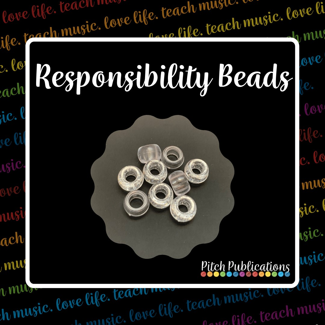 """A picture that says """"Responsibility"""" with a picture underneath of a few clear pony beads"""