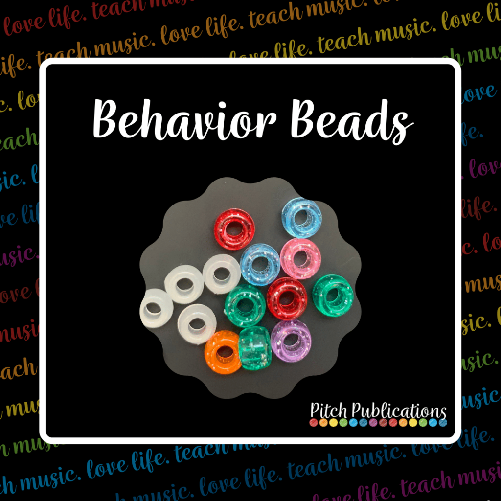 """A picture that says """"Behavior Beads"""" with a picture underneath of glow-in-the-dark and multicolored glitter pony beads"""