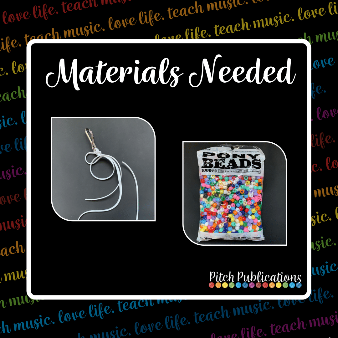"""A picture that says """"Materials Needed"""" with a picture of white lanyard attached to a silver keychain and a bag of multicolored pony beads"""