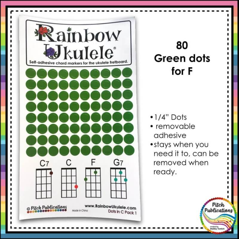 Rainbow Ukulele Colored Dot Stickers For Teaching Ukulele