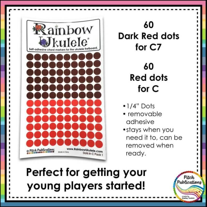 Rainbow Ukulele Colored Dot Stickers For Teaching Ukulele