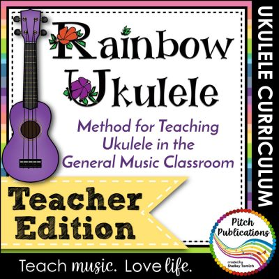 "Cover for product. Square picture with purple ukulele and text reading ""Rainbow Ukulele: Method for Teaching Ukulele in the General Music Classroom: Teacher Edition."""