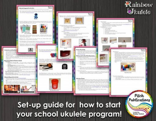 This is a preview picture of pages from the free get started kit for ukulele for Rainbow Ukulele.