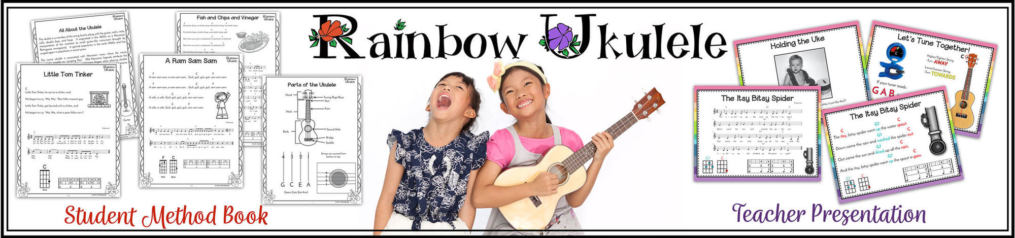 This is a picture of two happy kids playing ukulele with some samples of the ukulele curriculum Rainbow Ukulele