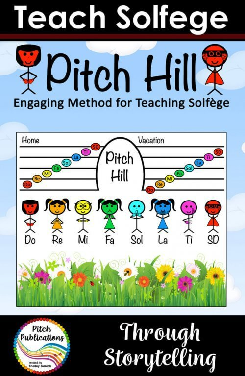 Pitch Hill is a method of teaching the notes of the musical scale in which each note is a character with his or her own story and special song!  It is incredibly easy for teachers and super engaging for students! #pitchhill #elmused #elementarymusic