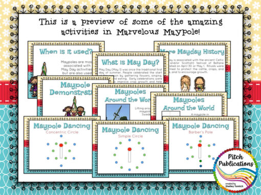 """The text at the top says """"This is a preview of some of the amazing activities in Marvelous Maypole!"""" Underneath are 9 small slides from the PowerPoint"""