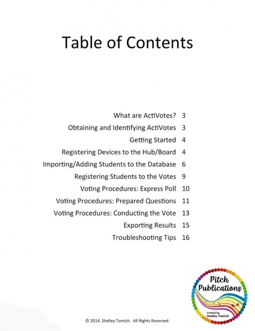 Picture of Table of contents for activote guide