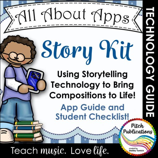"""This is a picture of a person holding an ipad with the text """"Story Kit: Using Storytelling Technology to Bring Compositions to Life!"""""""