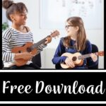 """A picture of a teacher and a student with ukuleles. The words on the image read """"free download ukulele care guide for students"""""""