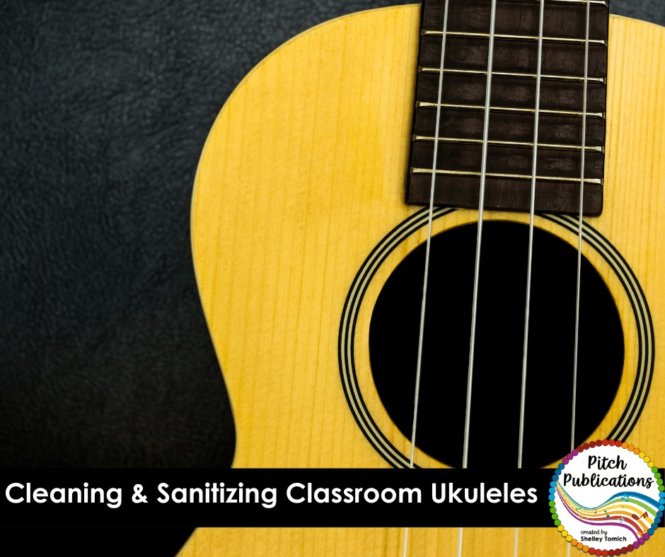 """A close up picture of a wooden ukulele body with text underneath that says """"Cleaning & Sanitizing Classroom Ukuleles"""""""